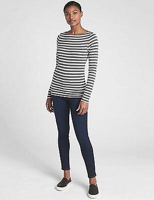 GAP Modern Striped Long Sleeve Boat Neck T-Shirt