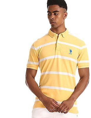 U.S. Polo Assn. Yellow Button Down Striped Polo Shirt
