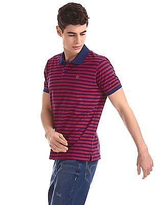 Ruggers Red And Navy Horizontal Stripe Polo Shirt