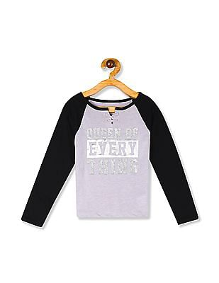 The Children's Place Girls Active Long Raglan Sleeve Lace-Up Glitter Graphic Top