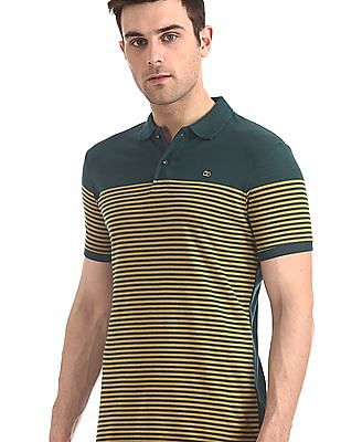 Roots by Ruggers Green Striped Short Sleeve Polo Shirt