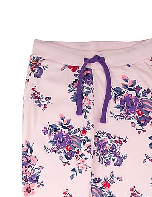 U.S. Polo Assn. Kids Girls Floral Print Knitted Joggers