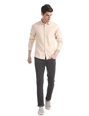 Ruggers Beige Regular Fit Patterned Shirt