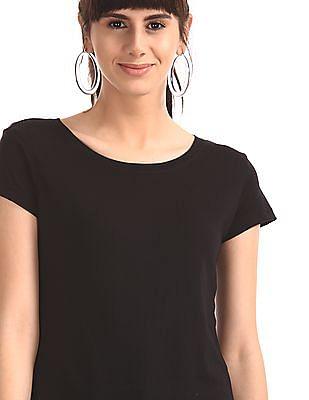 SUGR Black Solid Cotton Modal T-Shirt