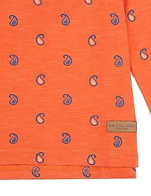 U.S. Polo Assn. Kids Boys Paisley Print Long Sleeve Polo Shirt