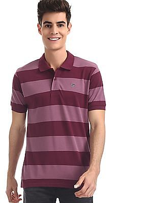 Ruggers Purple Striped Cotton Polo Shirt