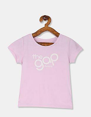 GAP Toddler Girl Purple Round Neck Logo T-Shirt