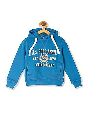 U.S. Polo Assn. Kids Boys Hooded Appliqued Sweatshirt