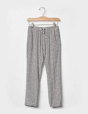 GAP Girls White Print Soft Pants
