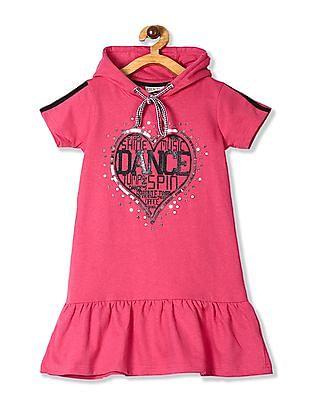 Cherokee Pink Girls Drop Waist Hooded Dress