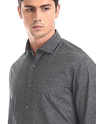 Arrow Newyork Grey Cutaway Collar Printed Shirt