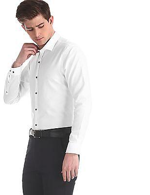 Arrow Newyork White Semi Cutaway Collar Patterned Shirt