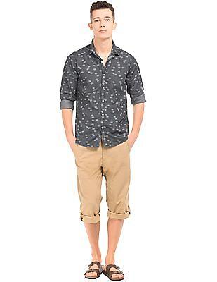 Cherokee Coral Reef Print Chambray Shirt