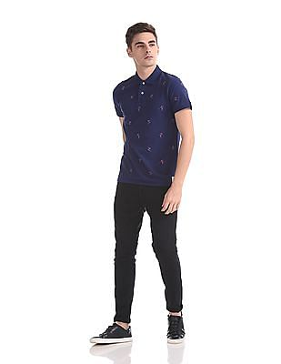 Gant All Over Embroidered Pique Short Sleeve Rugger Polo