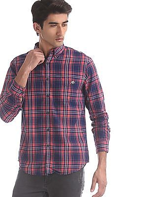 Aeropostale Navy And Pink Patch Pocket Check Shirt