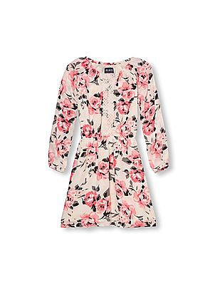 The Children's Place Girls Long Sleeve Rose Print Peasant Dress