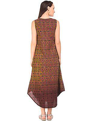 Bronz Printed Sleeveless Maxi Dress