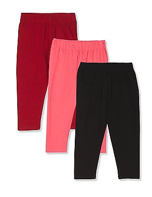 Donuts Assorted Girls Elasticized Waist Solid Leggings - Pack Of 3