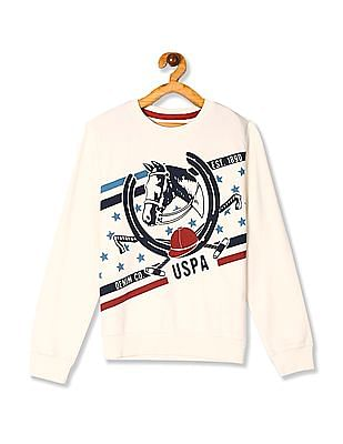 U.S. Polo Assn. Kids White Boys Brand Graphic Cotton Sweatshirt