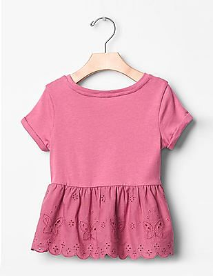 GAP Baby Pink Embroidered Lace Peplum Top