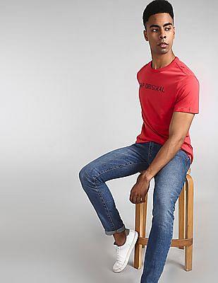 GAP Men Red Original Crewneck T-Shirt