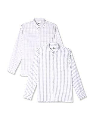 Excalibur White Semi Cutaway Collar Mitered Cuff Shirt - Pack Of 2