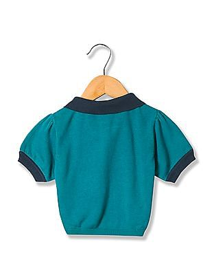 U.S. Polo Assn. Kids Girls Polo Collar Flat Knit Shrug