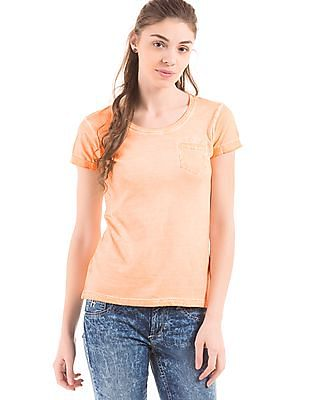 Flying Machine Women Regular Fit Dyed T-Shirt