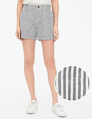 GAP White Girlfriend Chino Stripe Shorts in Linen-Cotton