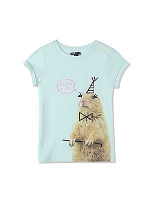 GAP Girls Green Embellished Photo-Real Graphic Tee