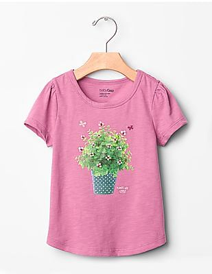 GAP Toddler Girl Pink Embroidered Graphic Tee