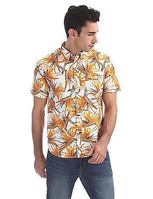 Aeropostale Tropical Print Short Sleeve Shirt