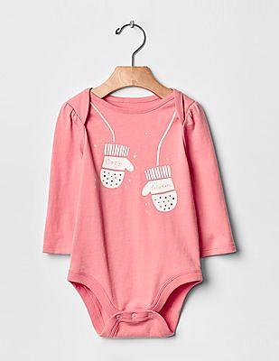 GAP Baby Pink Festive Graphic Bodysuit