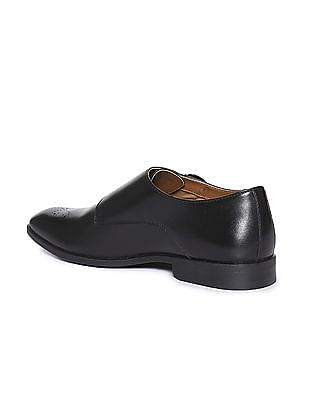Arrow Pointed Toe Leather Monk Shoes