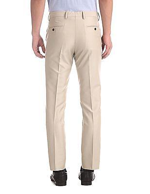 Arrow Beige Mid Waist Solid Trousers