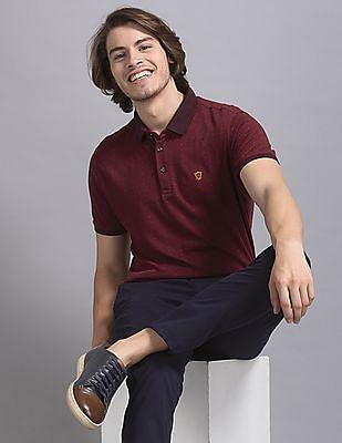 True Blue Red Slim Fit Printed Polo Shirt