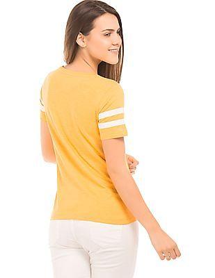 Flying Machine Women Slub Knit Cotton T-Shirt