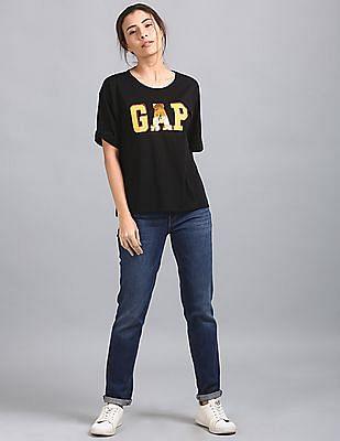 GAP Drop Shoulder Boxy Tee With Sequin Logo
