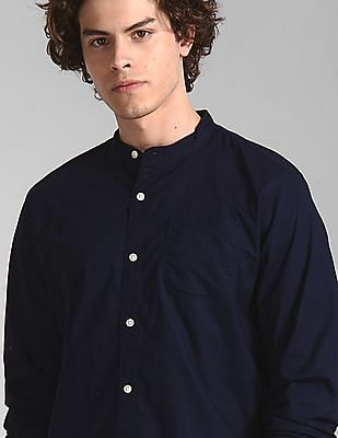 GAP Blue Banded Collar Shirt