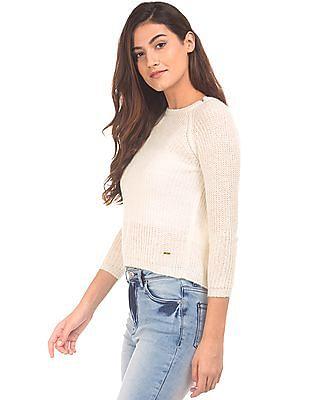 Elle Overlapped Back Open Knit Sweater