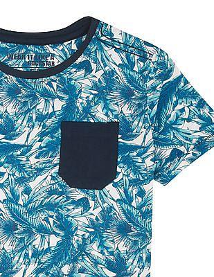 FM Boys Boys Tropical Print Slim Fit T-Shirt