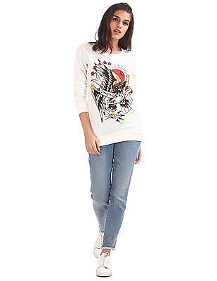 EdHardy Women Crew Neck Printed Sweatshirt