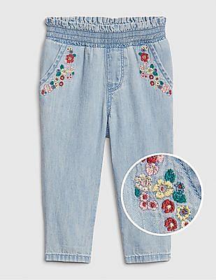 GAP Baby Floral Embroidered Denim Pants