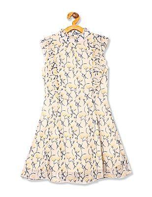 Cherokee Girls Ruffle Trim Printed Dress
