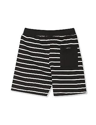 Cherokee Black Boys Drawstring Waist Striped Shorts