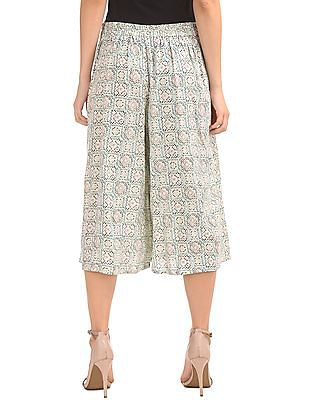 Bronz Pleated Front Printed Culottes