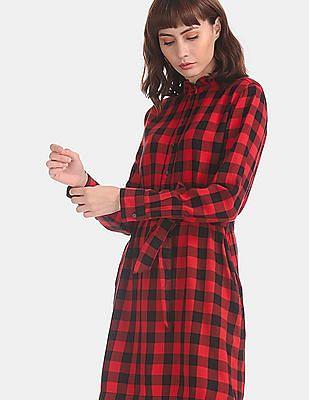 GAP Red Ruffled Neck Popover Shirt Dress