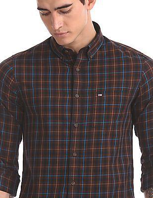 Arrow Sports Brown Patch Pocket Check Shirt