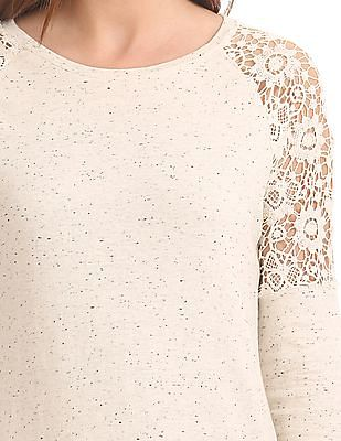 SUGR Lace Panel Heathered Top
