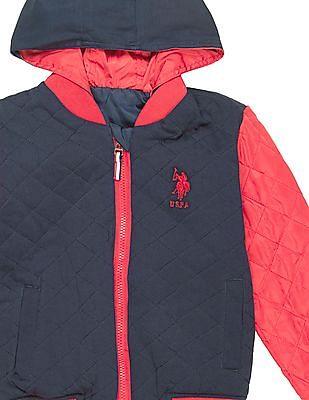 U.S. Polo Assn. Kids Boys Hooded Reversible Bomber Jacket